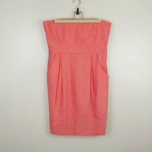 Theory strapless dress pockets peach linen 12